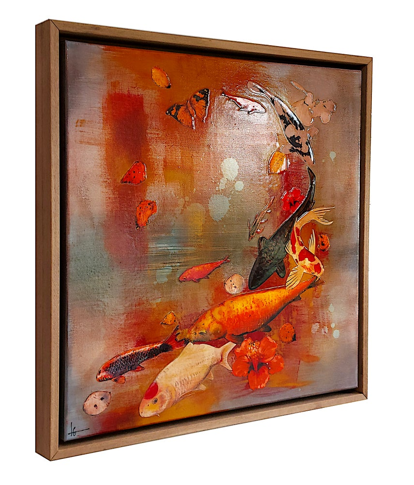 Image of Original Canvas - Koi and Hibiscus with Crimson and Ochre