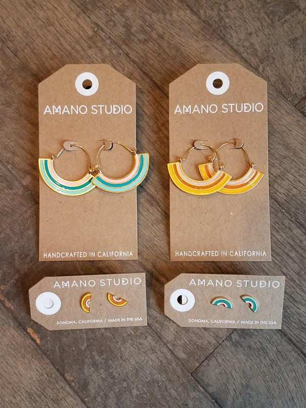 Image of Beautiful Day Rainbow Hoops and Stud Earrings