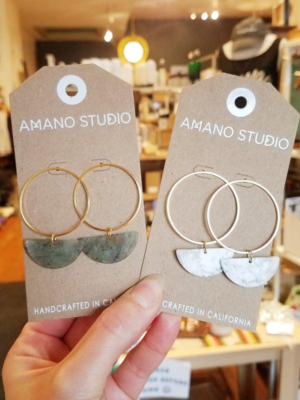 Image of Sun and Moon Hoop Stud Earrings