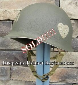 Image of WWII 101st M2 Dbale Airborne Helmet 502nd PIR Paratrooper Front Seam Captain