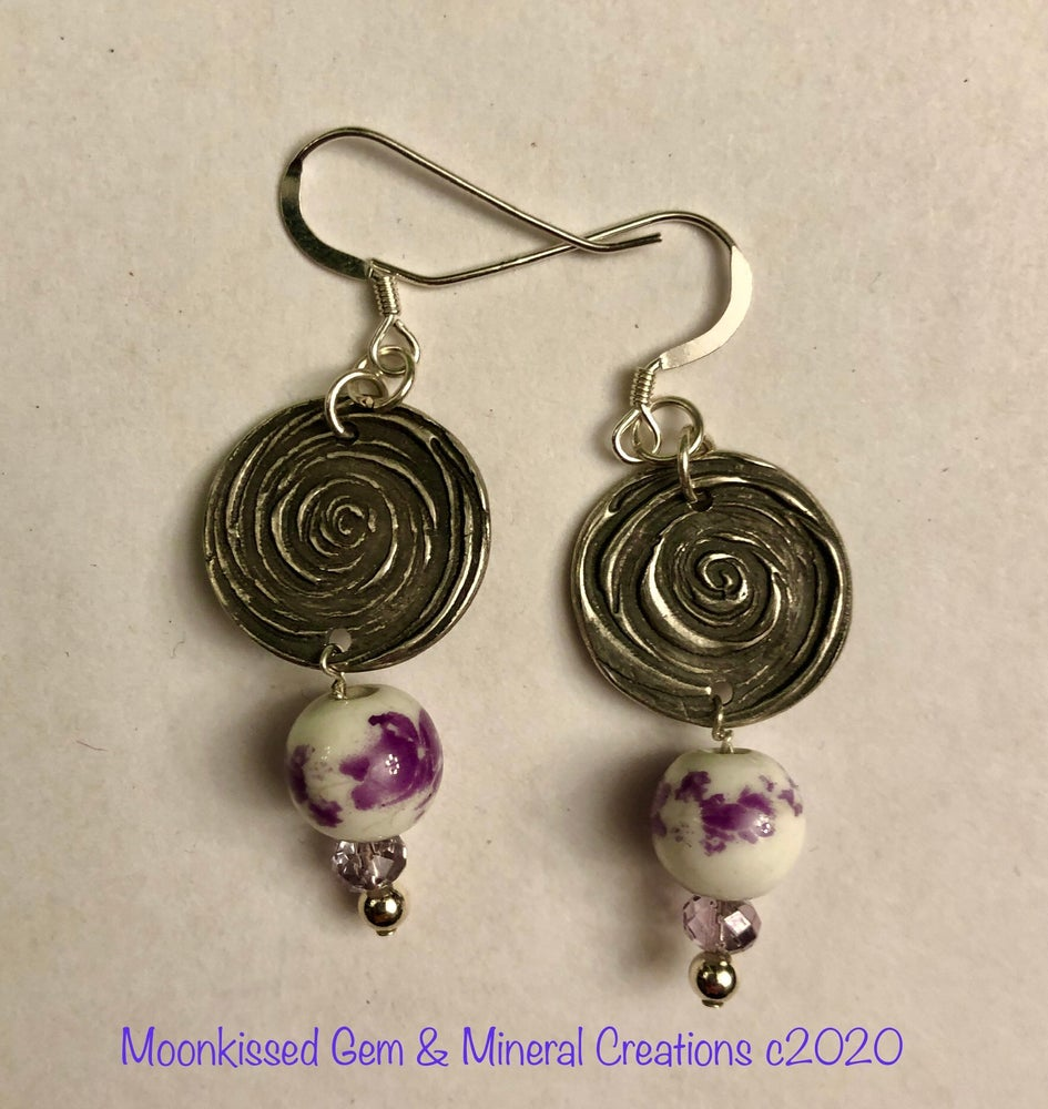 Image of Swirls and Violets Fine Silver Earrings