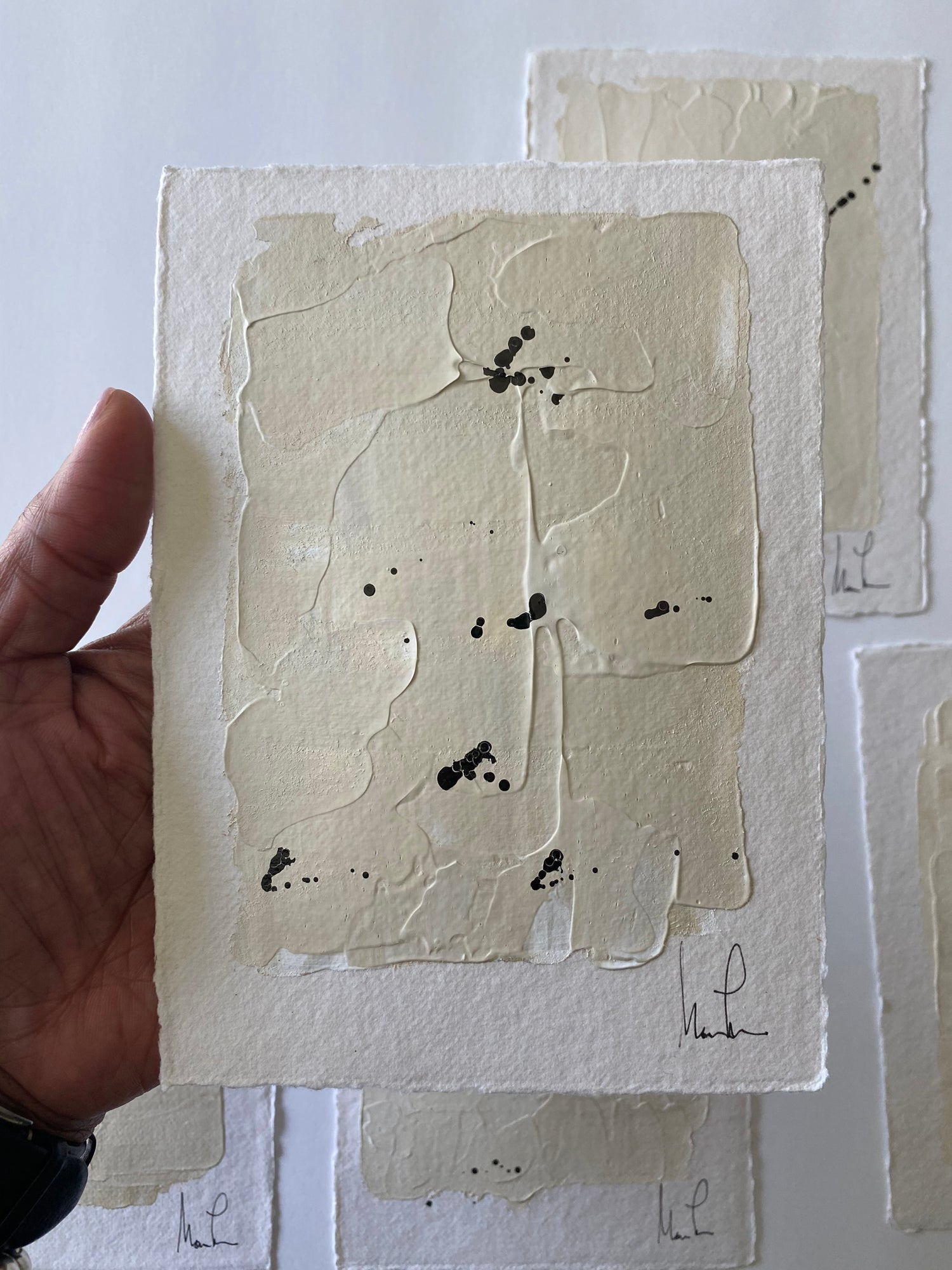 "Image of ""Neutral ML Art"" Handmade Cotton Rag  Paper (3)"
