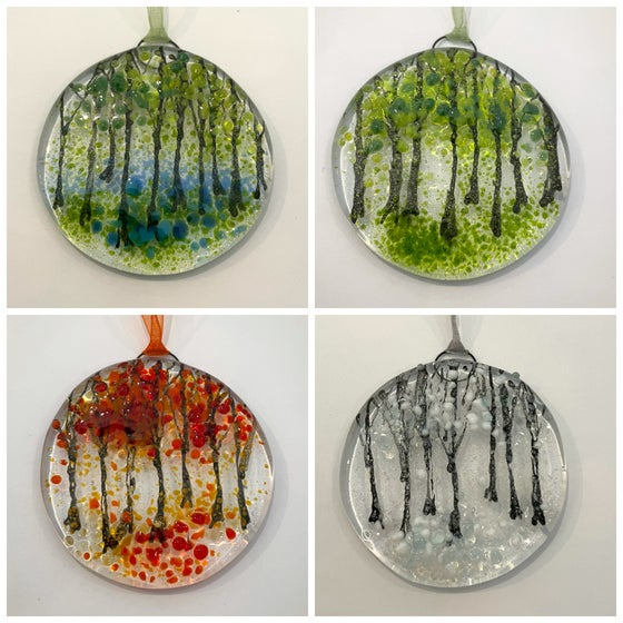 Image of Tiny woodland seasons sun-catcher