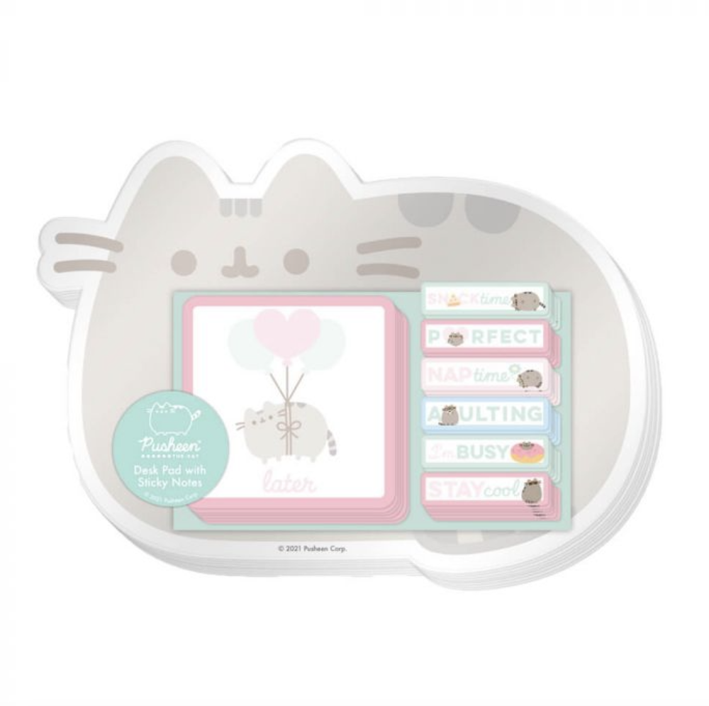 Image of Simply Pusheen Desk Pad with Sticky Notes