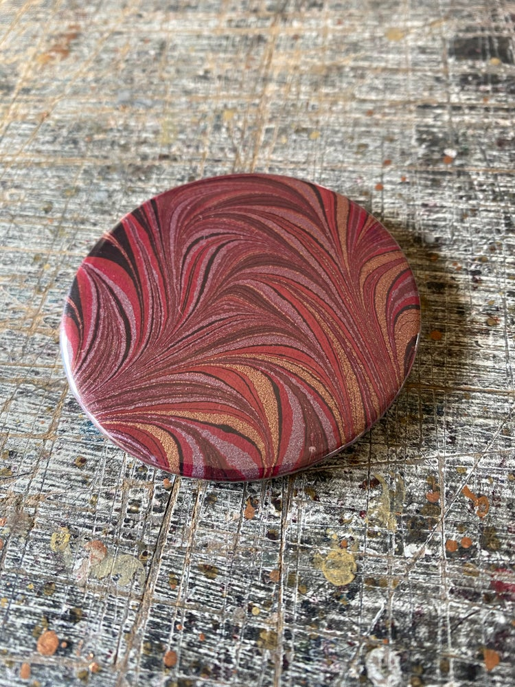 Image of SINGLE real marble paper pocket mirror 58mm - #4