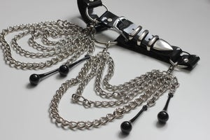 Image of MADE TO ORDER  - BLACK TEARDROP BELT IN SHINY PVC (Size XS-XL)