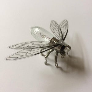 Steampunk brooch - Small insect fly bulb Brooch