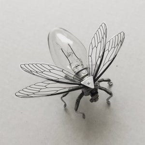 Save the Bees - Steampunk brooch - Unusual Small Bee Lightbulb Brooch