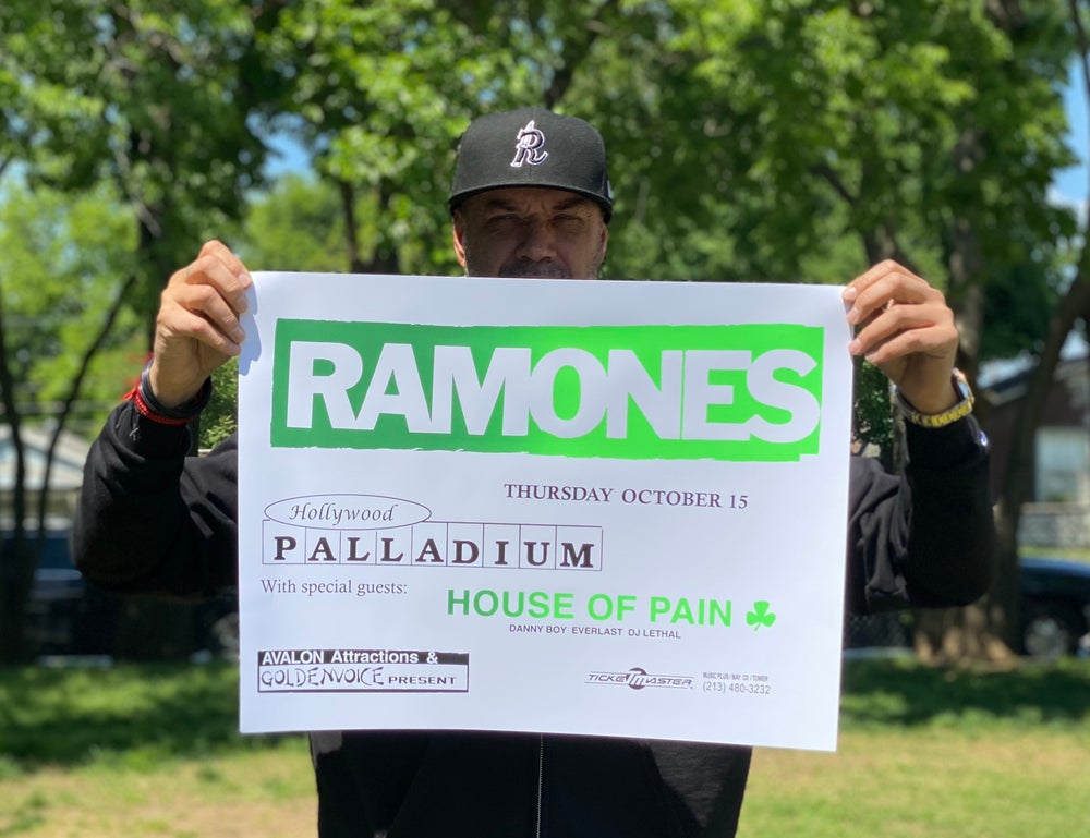 Image of RAMONES X HOUSE OF PAIN 1992 Concert Flyer. Ltd Ed 1/100 signed by Danny Boy O'Connor.