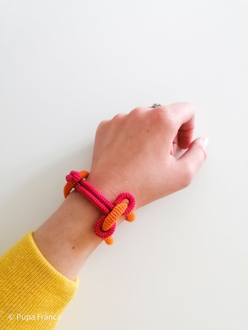 Image of Crochet Chain Bracelet in Pink and Orange