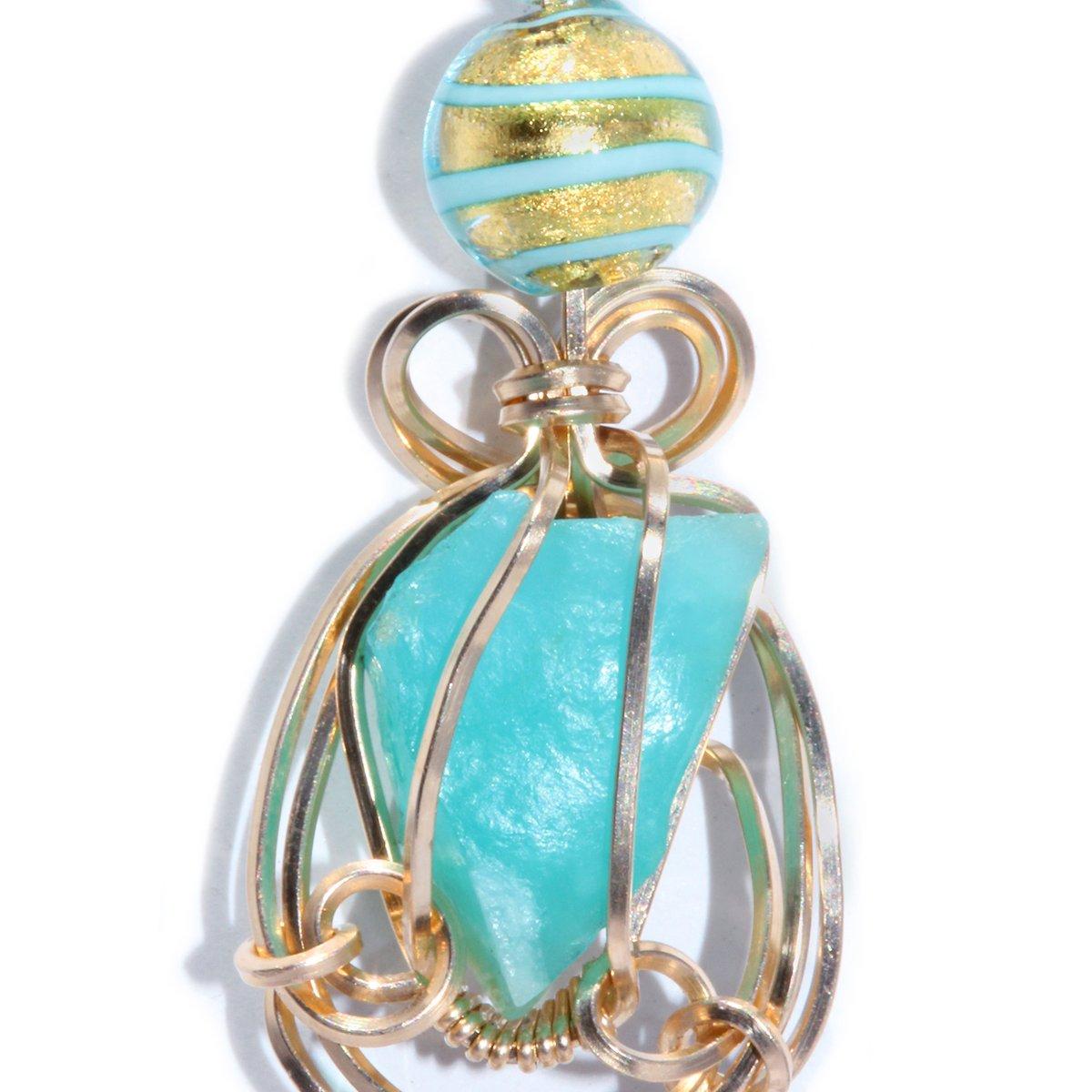 Blue Peruvian Opal Wire Wrapped 14K GF Pendant