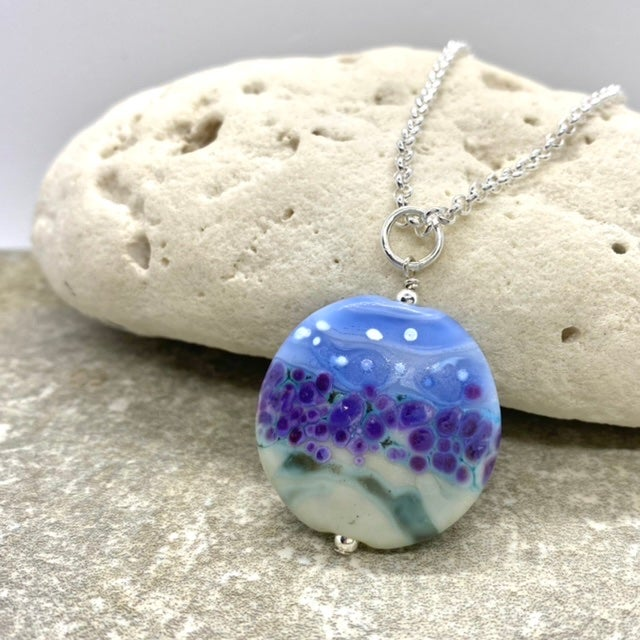 Image of Large Round Lavender Necklace