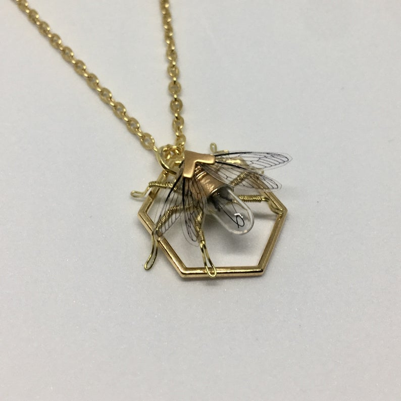 Save the bees - Steampunk Geometric honeycomb and clockwork bee necklace