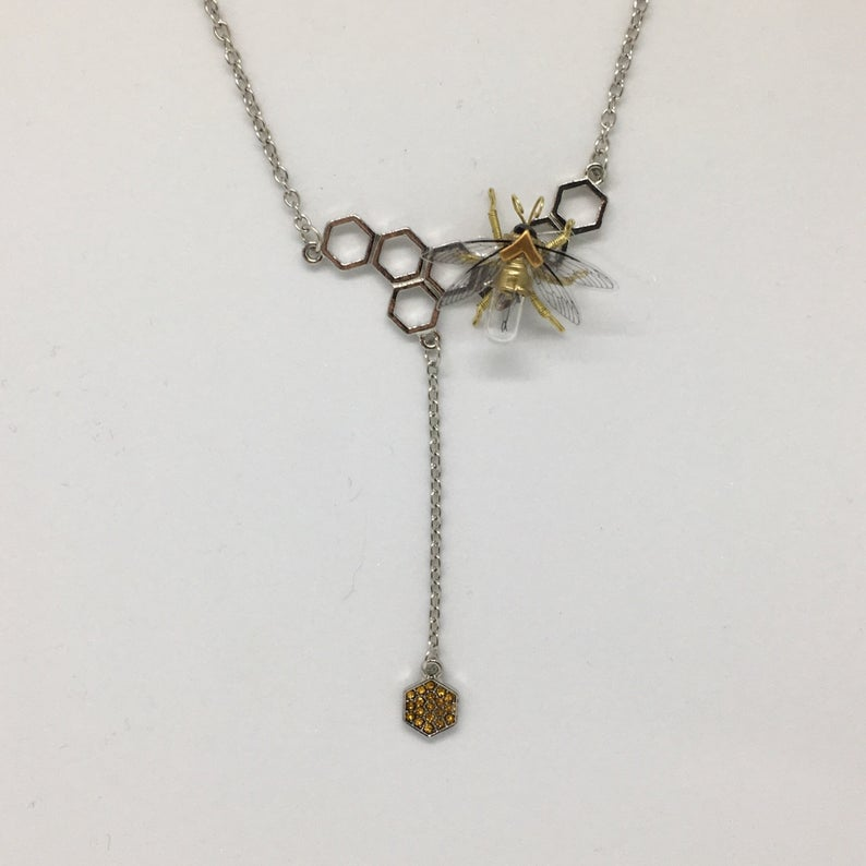Save the bees - Steampunk honeycomb hexagon and clockwork bee necklace