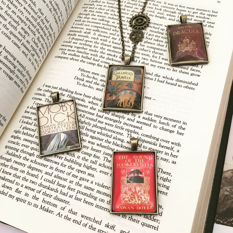 Victorian Literature Steampunk Book Pendant necklace - Moby Dick Gullivers Travels Dracula