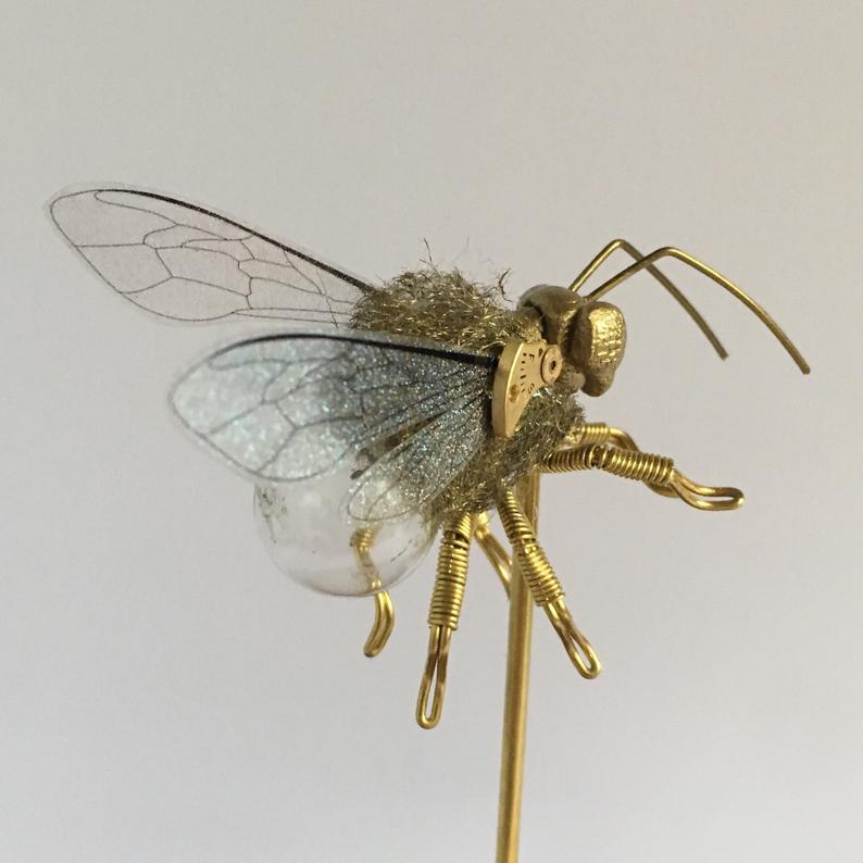 Save the Bees Steampunk Clockwork Furry Bee in Glass Dome - Oddities and Curiosities