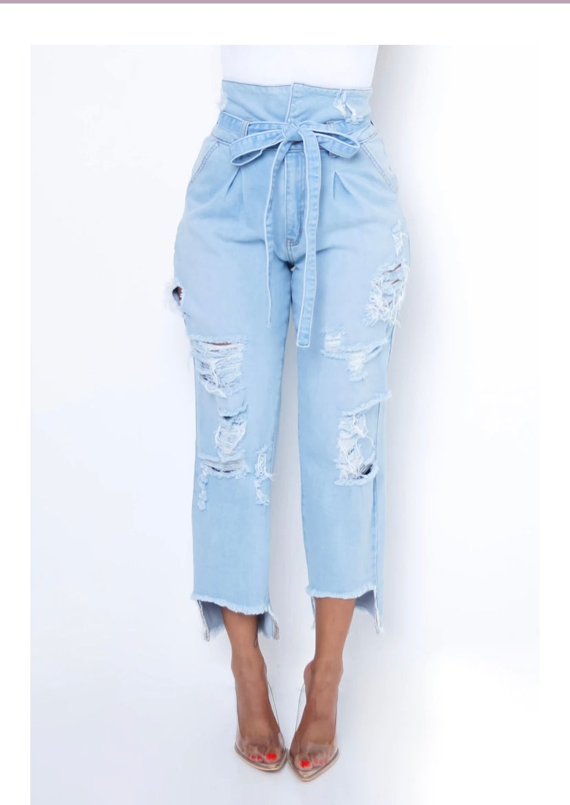 Image of Cicely ( Highwaist Distress Jeans)