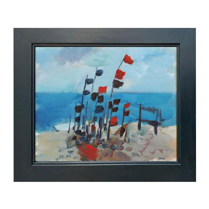 Image of Mid Century 'Flags on the Beach,' LARS BERTLE.
