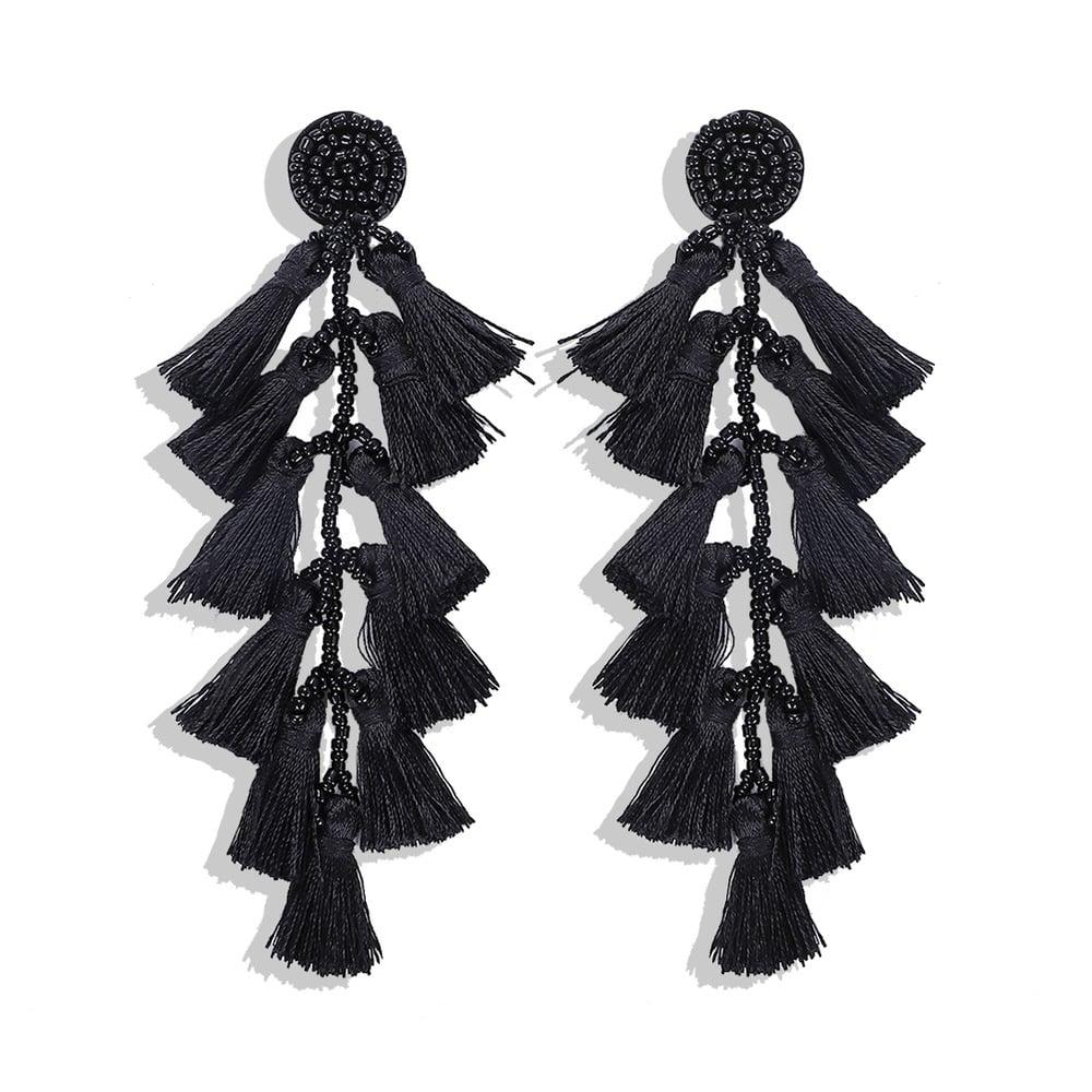 Image of Rice Bead Tassel Earring Layered Earring