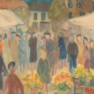 Image of 1950's, Swedish Oil Painting, 'Flower Market'