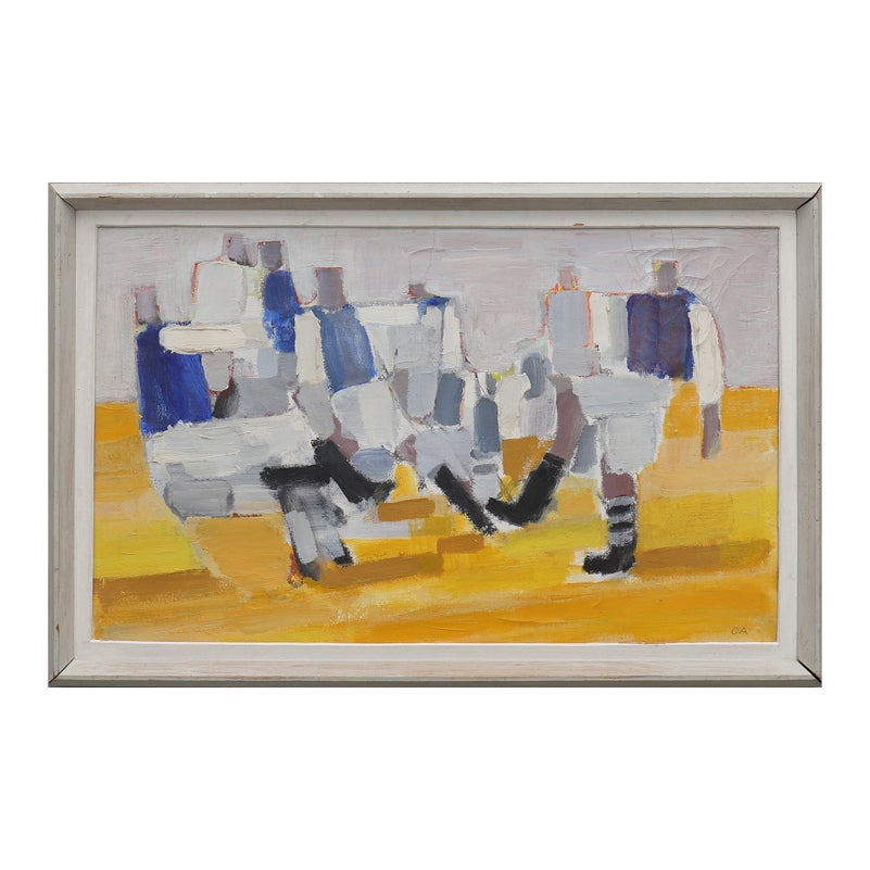 Image of Mid Century, Swedish Painting 'Footballers.' OLLE AGNELL (1923 -2015)