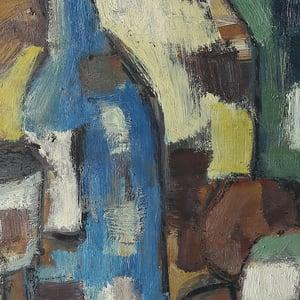 Image of Mid Century, 'Blue Bottle' Swedish Still Life Painting