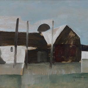 Image of 1958, Swedish Oil Painting, 'Farmstead' STURE SVENSON.