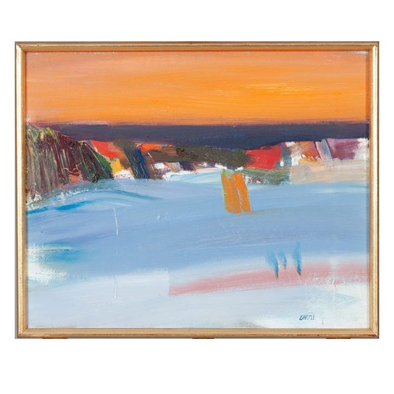 Image of 1960's, Swedish Oil Painting, 'Sunset Seascape,' LARS BERTLE