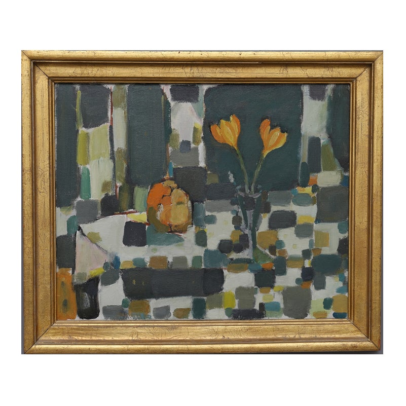 Image of Mid Century Swedish oil Painting 'Apple and Crocus'.