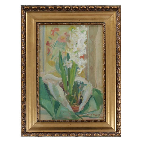 Image of 1942, Swedish Still Life Painting, 'Hyacinth.' BIRGIT HYGRELL (1903 -1972)