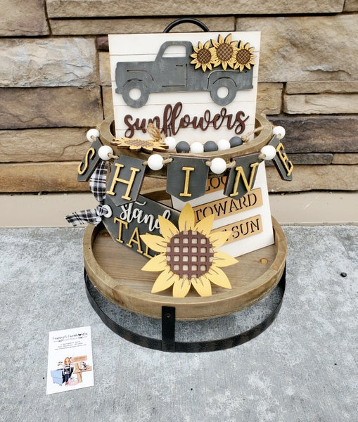 Image of Tiered Tray - Sunflowers