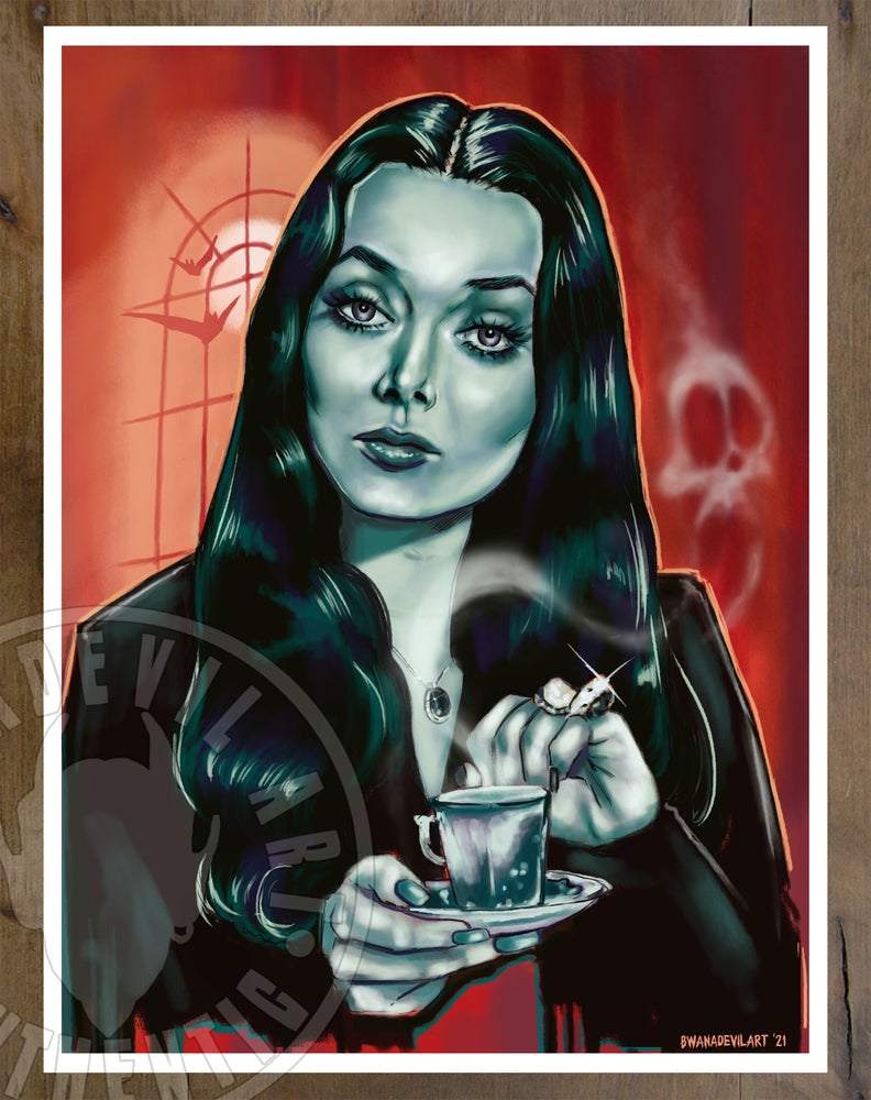 Image of Morticia Addams Tea Time Art Print (9x12 in.)