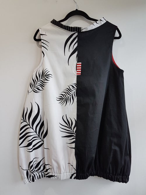 Image of baloon dress/tunic, fabric collage