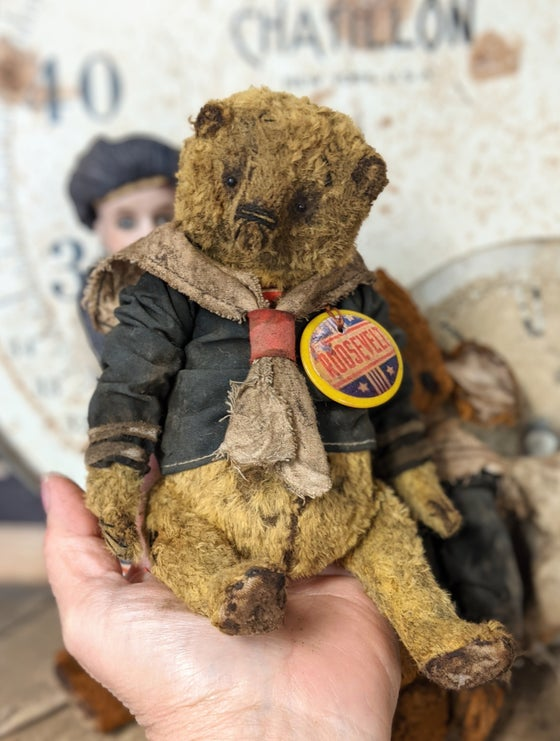 "Image of 7"" - ROOSEVELT Old Fat Worn Sailor Teddy Bear in sailor outfit  by Whendi's Bears"