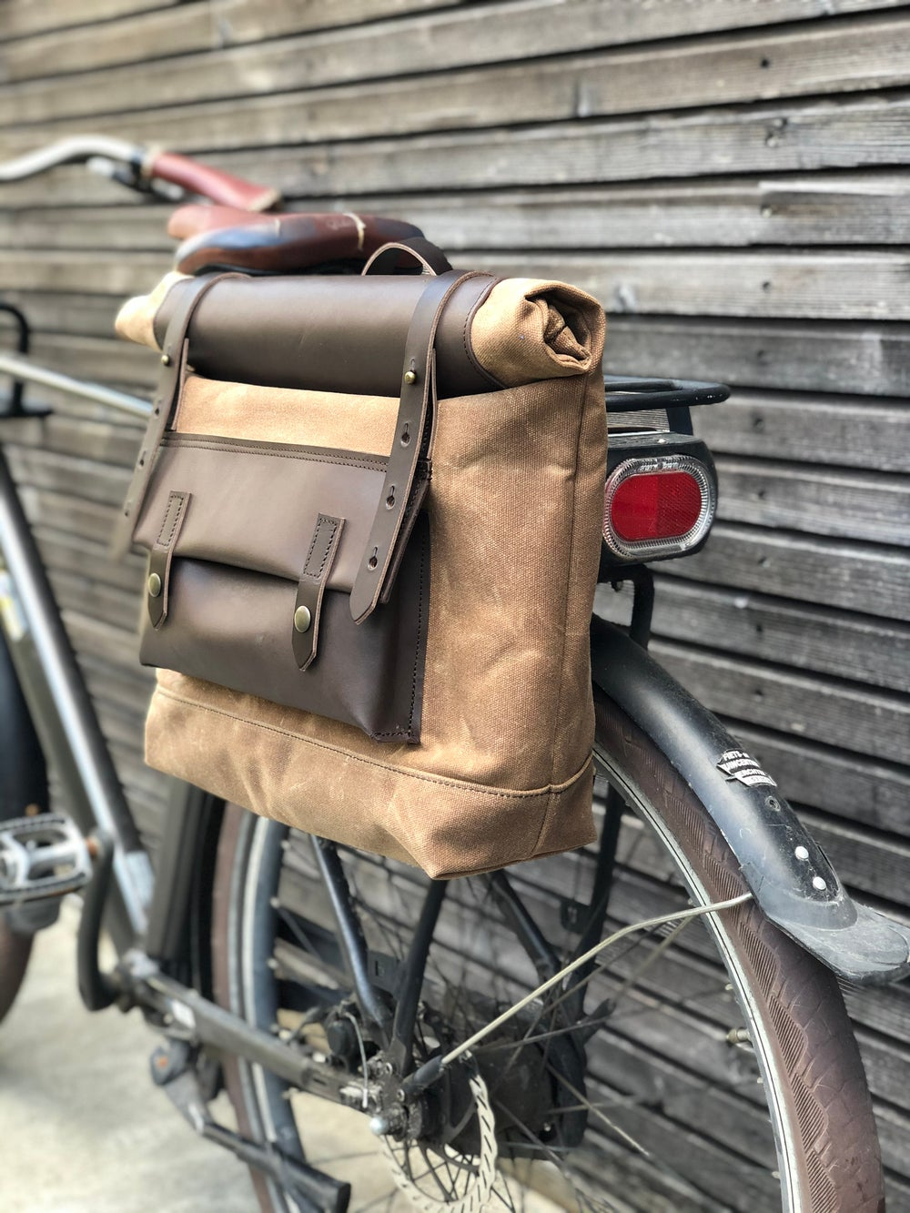 Image of Saddle bag in waxed canvas for Super73 E-bike bag Motorcycle bag Bicycle bag