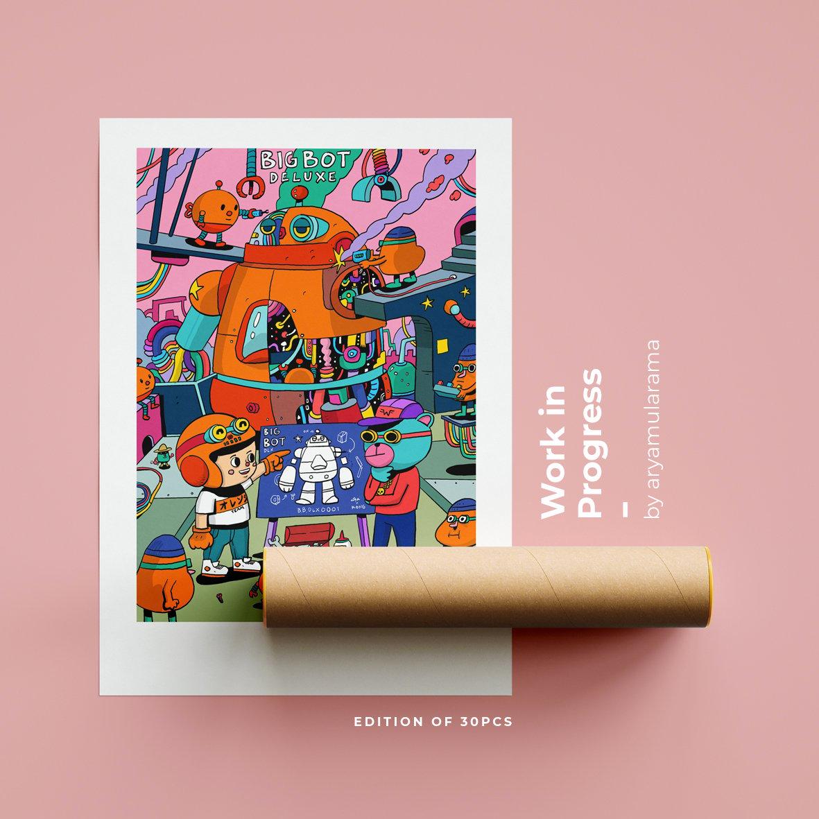 Image of Owange team art print collaboration with Arya mularama