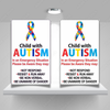 2x Two Child With Autism On Board Car Truck Magnets