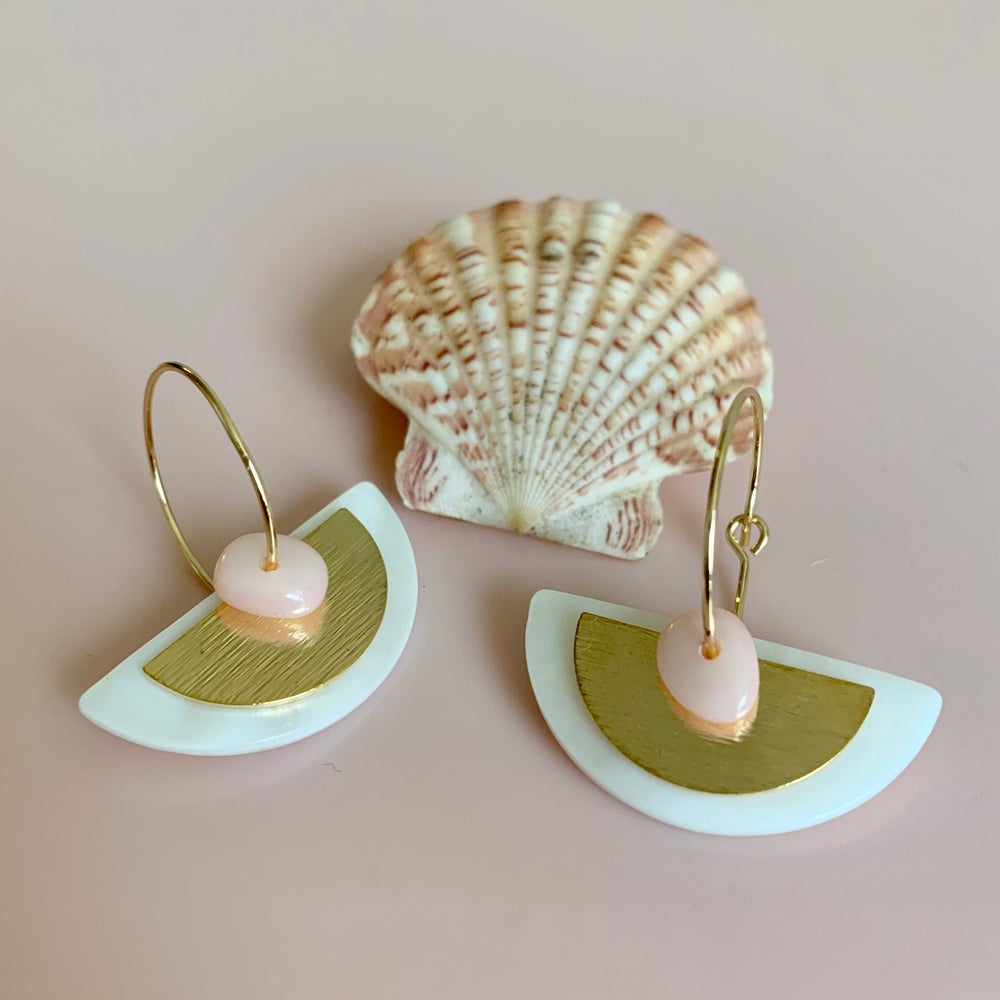 Image of Shell and Brass Semicircle Hoops