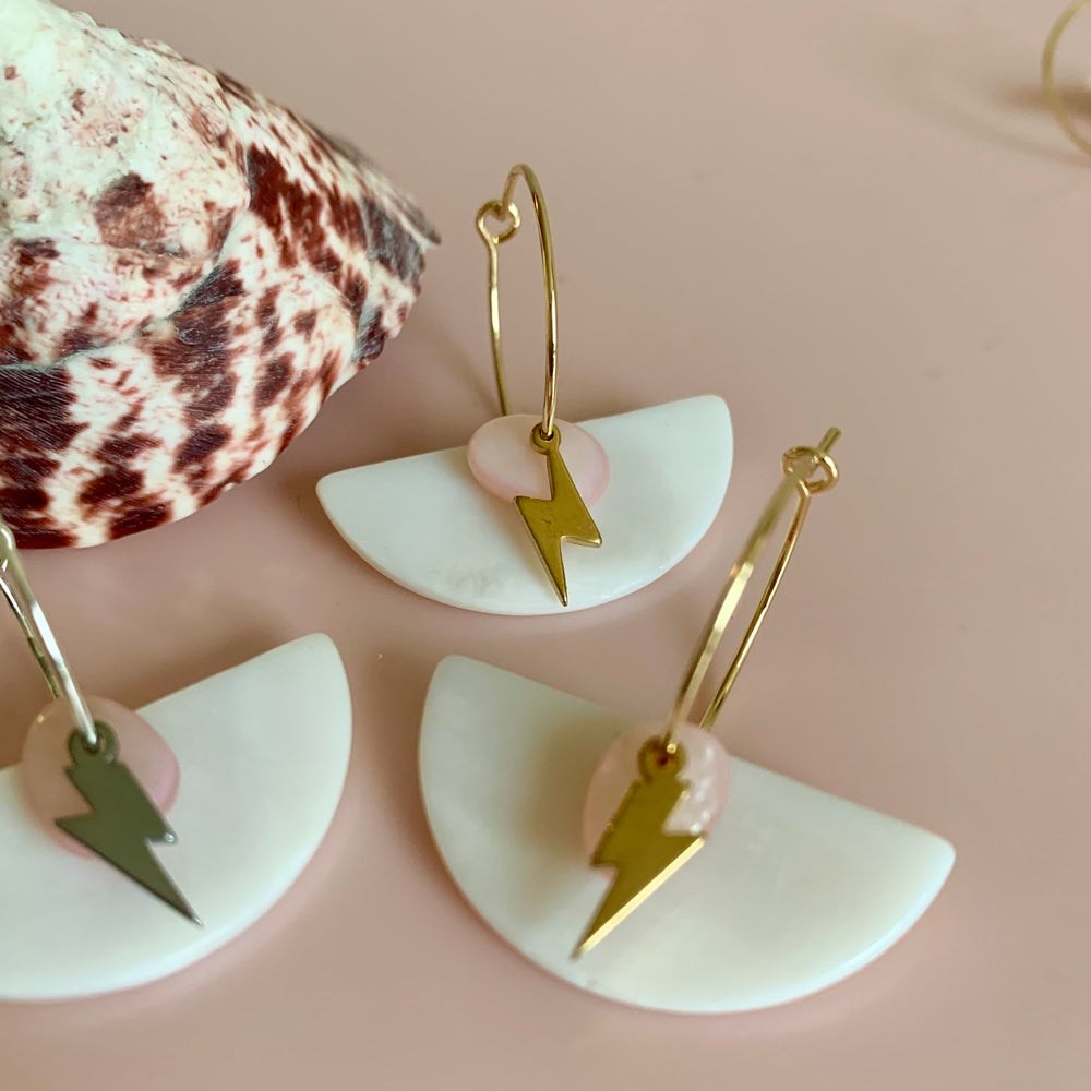 Image of Silver or Gold Lightening Bolt and Shell Hoops