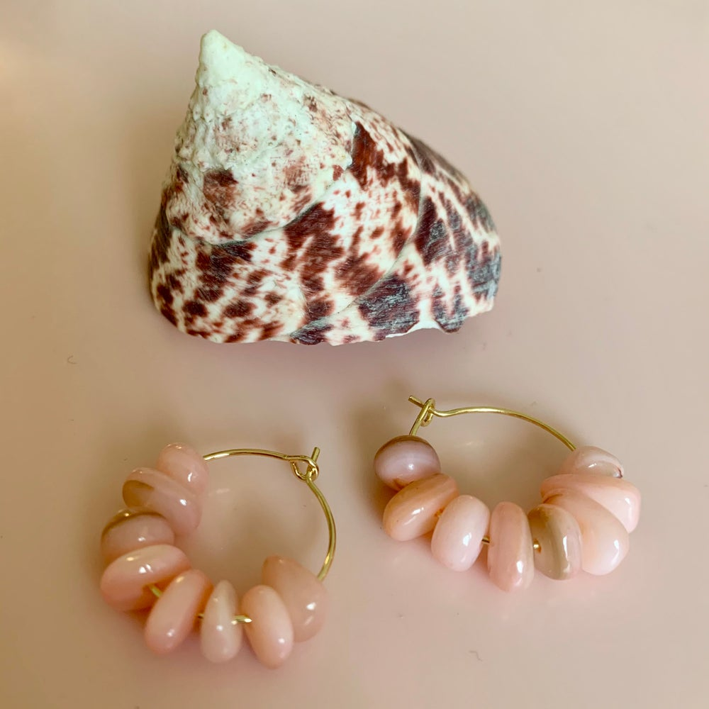 Image of Pink Shell Nugget Hoops