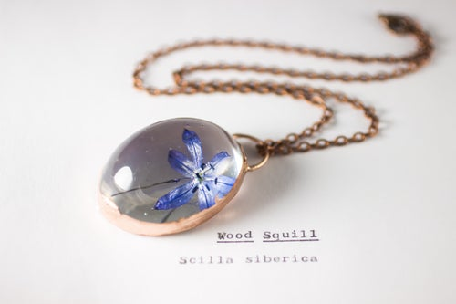 Image of Wood Squill (Scilla siberica) - Copper Plated Necklace #2