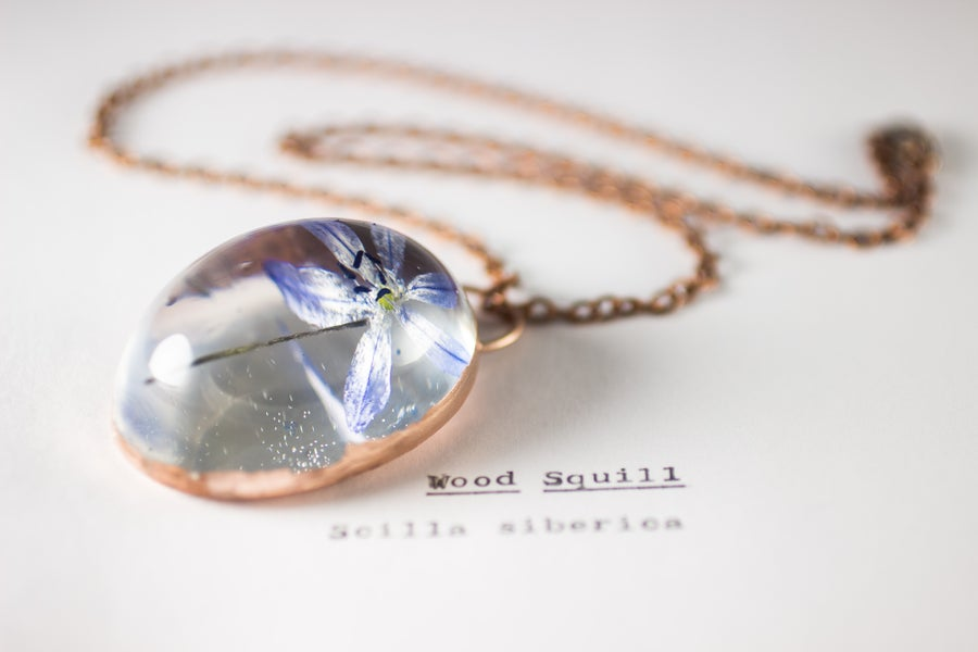 Image of Wood Squill (Scilla siberica) - Copper Plated Necklace #4