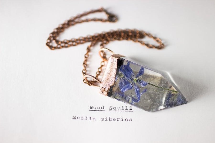 Image of Wood Squill (Scilla siberica) - Small Copper Prism Necklace #1