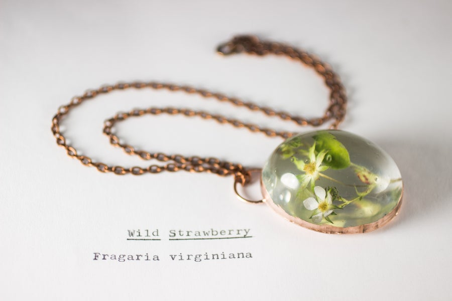 Image of Wild Strawberry (Fragaria virginiana) - Copper Plated Necklace #2