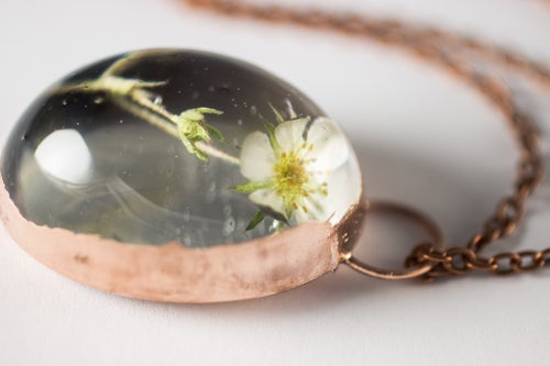 Image of Wild Strawberry (Fragaria virginiana) - Copper Plated Necklace #4