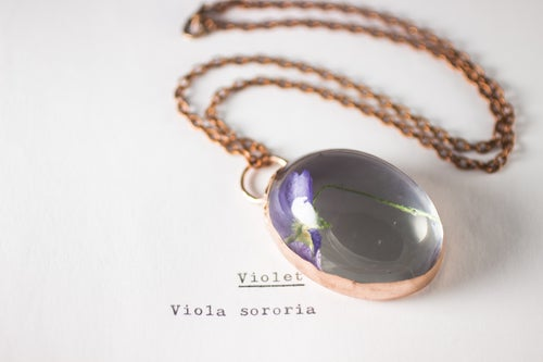 Image of Violet (Viola sororia) - Copper Plated Necklace #2