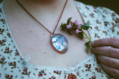 Image of Wood Squill (Scilla siberica) - Copper Plated Necklace #3