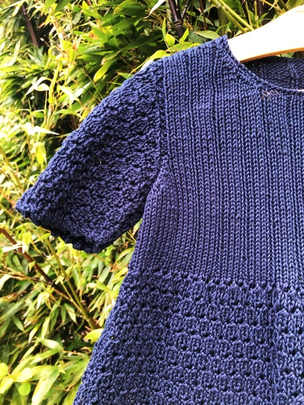 Image of Navy, overdyed crocheted cotton dress. Age 2-3yrs.