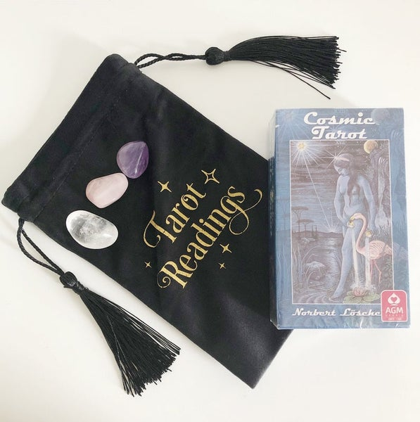 Image of Cosmic Tarot Set - with 3 Crystals and Fabric Bag