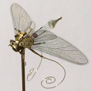 Mayfly Sculpture Steampunk Clockwork Insect in Glass Dome - Lightbulb Oddities & Curiosities